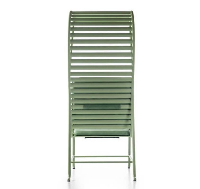 Powder-Coated BD Barcelona Gardenia Outdoor Armchair with Pergola in Green, White or Grey For Sale