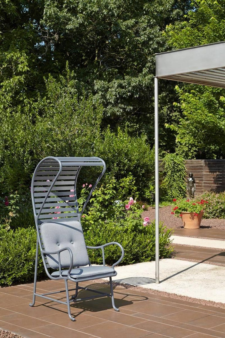 BD Barcelona Gardenia Outdoor Armchair with Pergola in Green, White or Grey In New Condition For Sale In Rhinebeck, NY