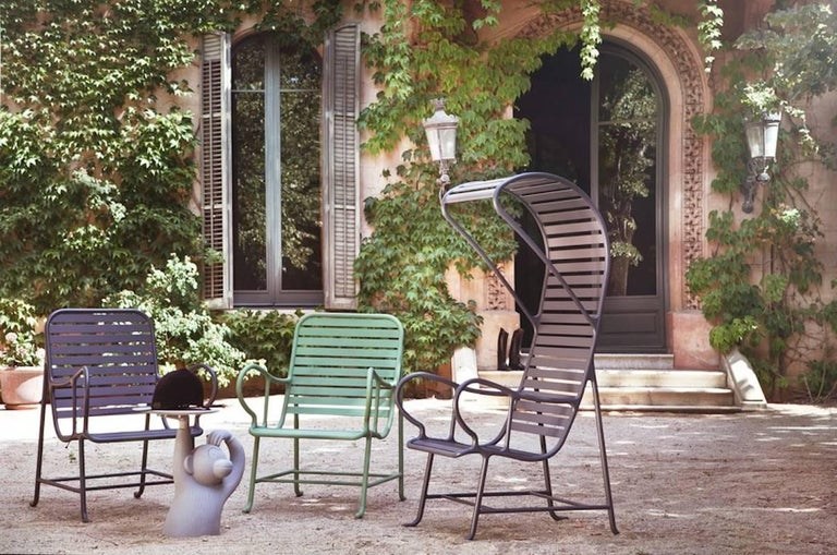 BD Barcelona Gardenia Outdoor Armchair with Pergola in Green, White or Grey For Sale 1
