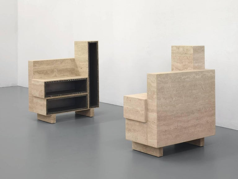 """BDC stands for """"bout de canapé"""" [end table: literally """"end of sofa""""]. The object schematically represents a slice of a sofa scaled down by 15%.   Robert Stadler uses for this side table the gluing of aluminium to travertine, a 1960s method of"""