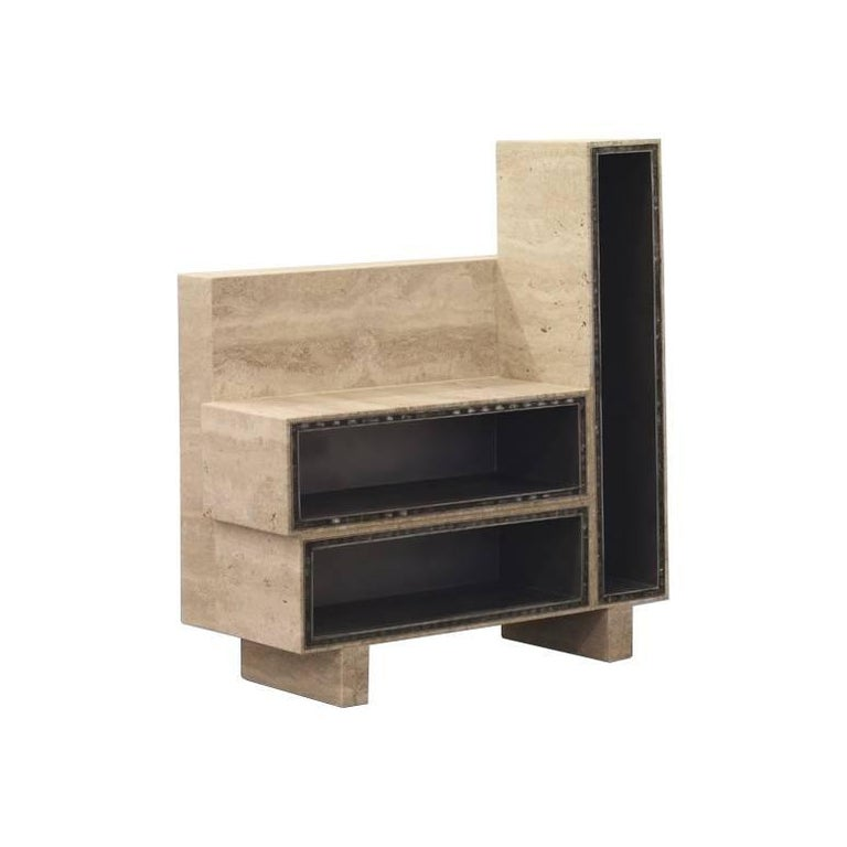 BDC Side Table in Travertine and Alucore, Left