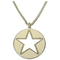 Be a STAR Enameled Crystal Long Necklace Pendant New, Never worn 1990s