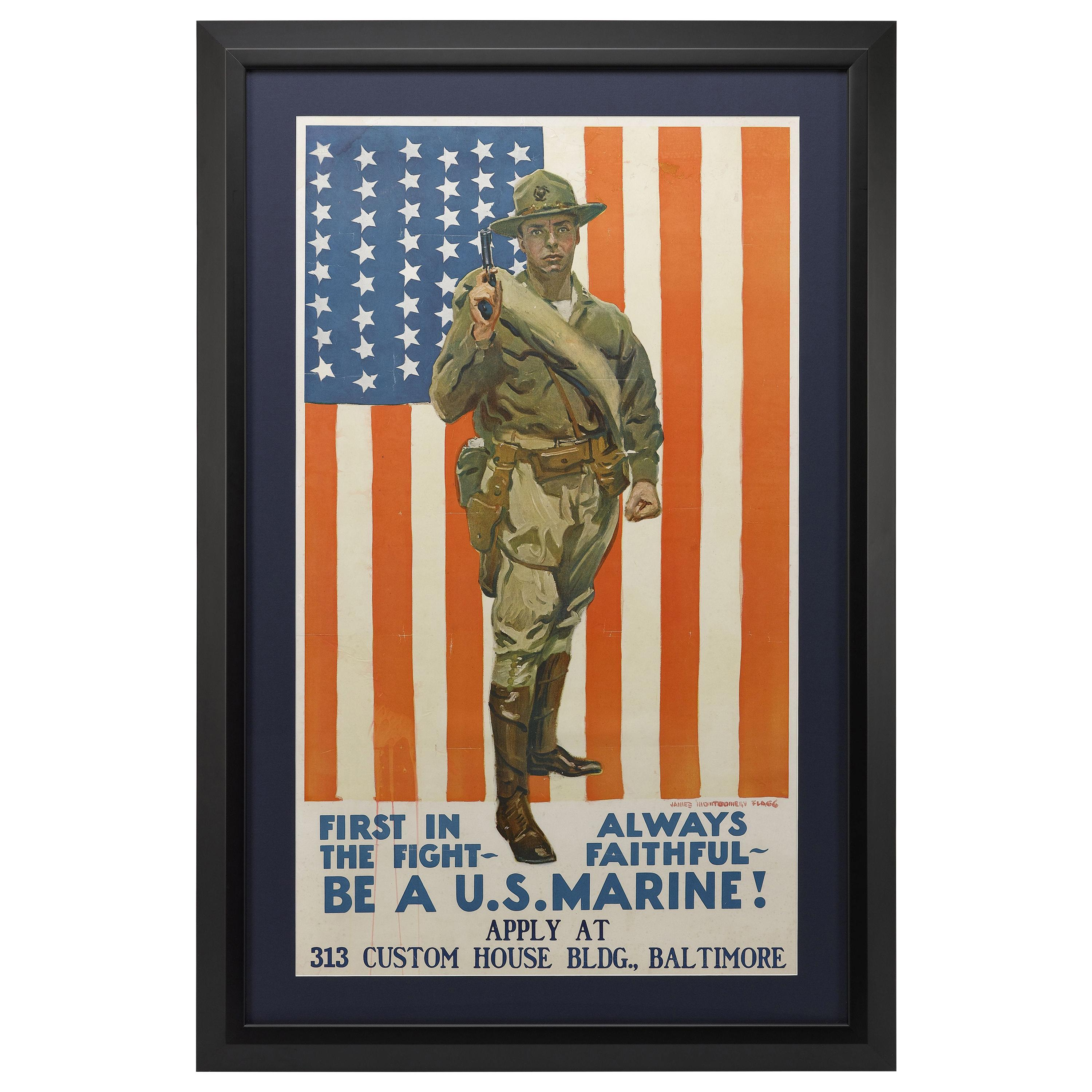 """""""Be a U.S. Marine!"""" Vintage WWI Poster, by James Montgomery Flagg, 1918"""