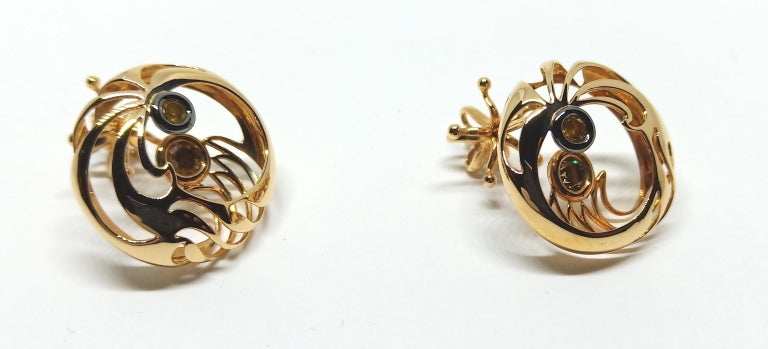 Be Ahead of the Curve with Contemporary Colored Diamond Clip-On Gold Earrings For Sale 2