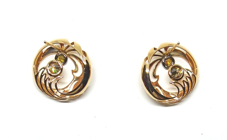 Be Ahead of the Curve with Contemporary Colored Diamond Clip-On Gold Earrings For Sale 3
