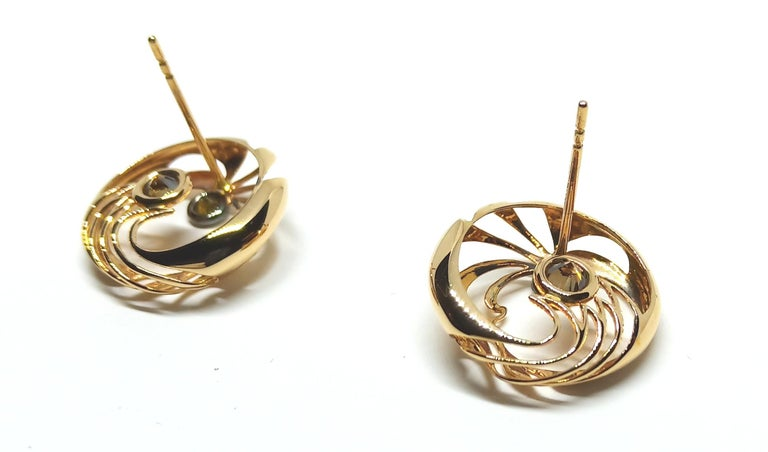 Be Ahead of the Curve with Contemporary Colored Diamond Clip-On Gold Earrings For Sale 4