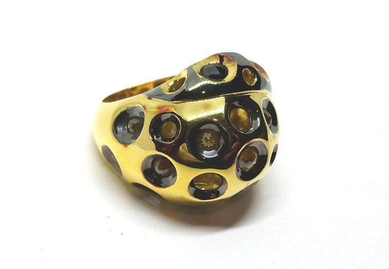 Be Ahead of the Curve with One of a Kind Colored Diamond Gold Cocktail Ring For Sale 1