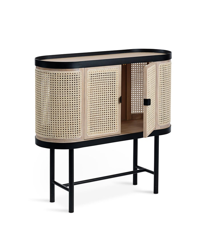 Scandinavian Modern Be My Guest Cane Bar Cabinet by Charlotte Høncke for Warm Nordic For Sale