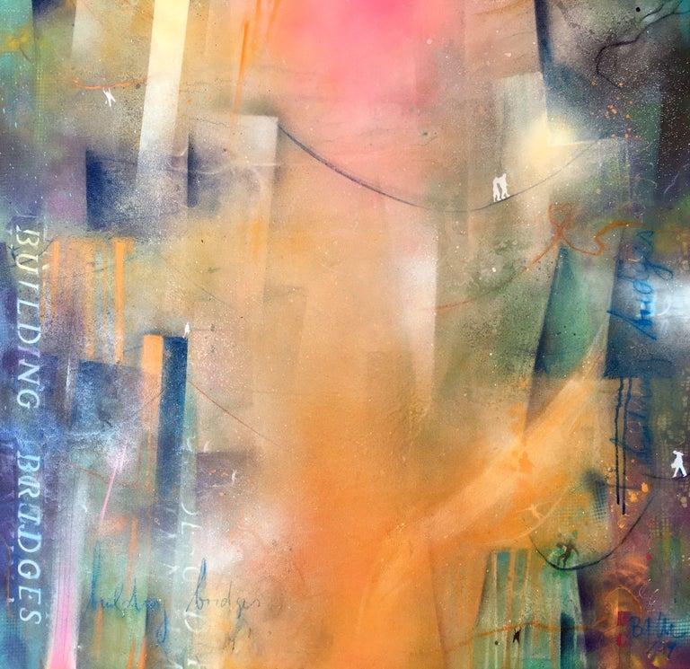 building bridges IX, Mixed Media on Canvas - Mixed Media Art by Bea Garding Schubert