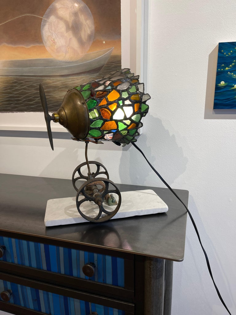 Beach Glass and Found Object Lamp Sculpture Made Using Copper Foil Technique For Sale 3