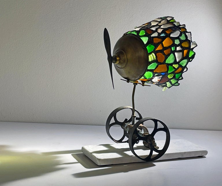 Modern Beach Glass and Found Object Lamp Sculpture Made Using Copper Foil Technique For Sale