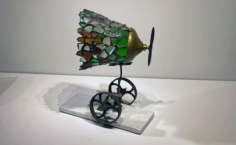 Beach Glass and Found Object Lamp Sculpture Made Using Copper Foil Technique In New Condition For Sale In Chicago, IL