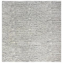 Beach Pebbles Gray Contemporary Hand Knotted Silk and Wool Rug