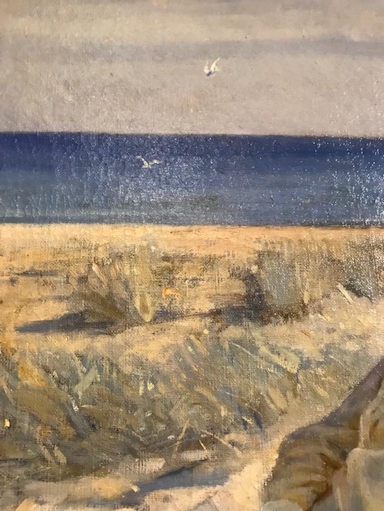 Beach Scene by Prof. Valdemar Irminger In Good Condition For Sale In Hudson, NY