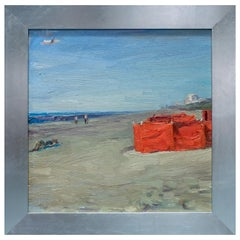 Impressionistic style Beach scene in Orange by André Krigar