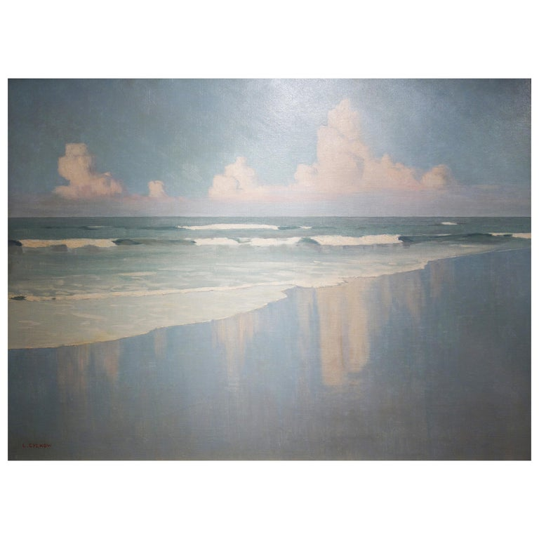 Beach Scene with Waves and Clouds For Sale