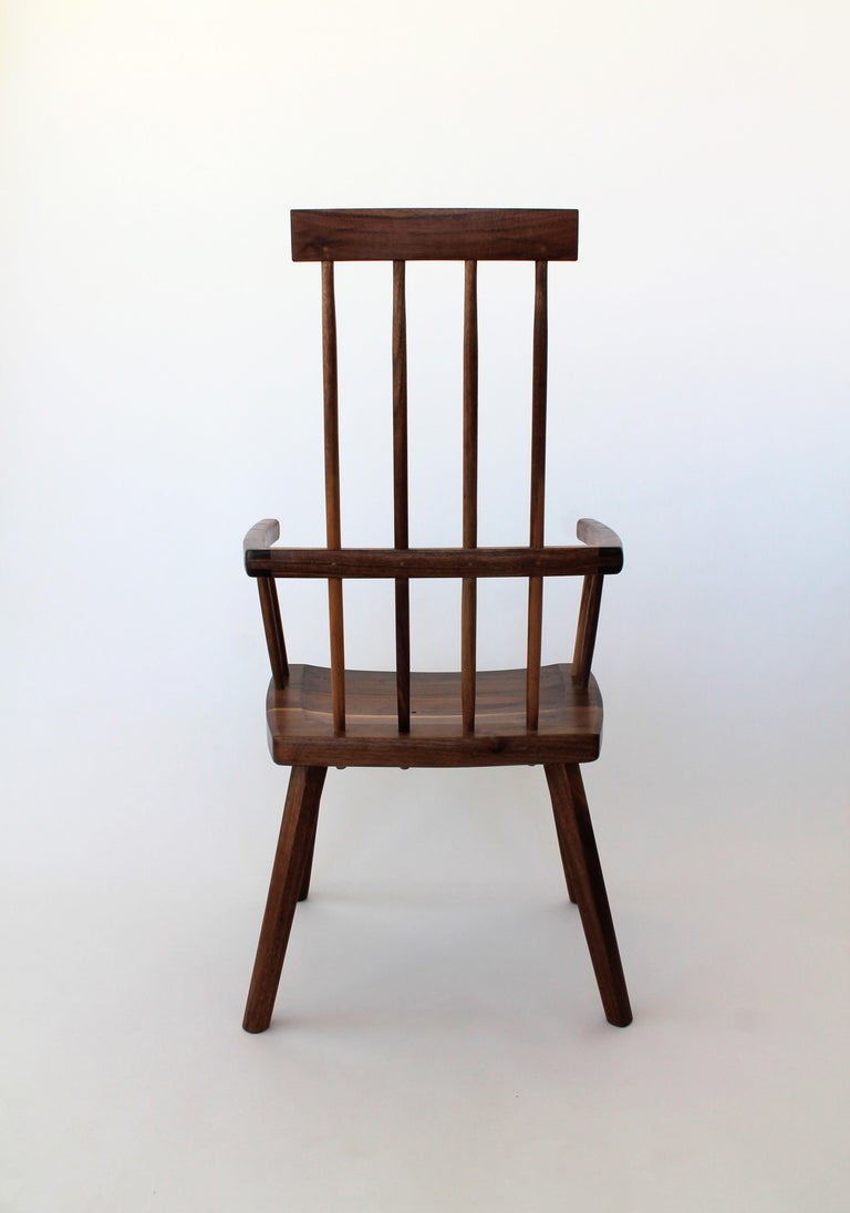 Folk Art Beachcomber Spindle Back Chair in Walnut in Stock For Sale