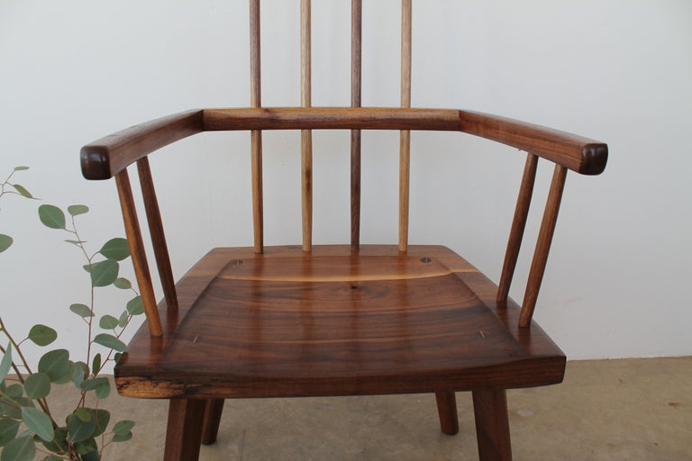 Woodwork Beachcomber Spindle Back Chair in Walnut For Sale