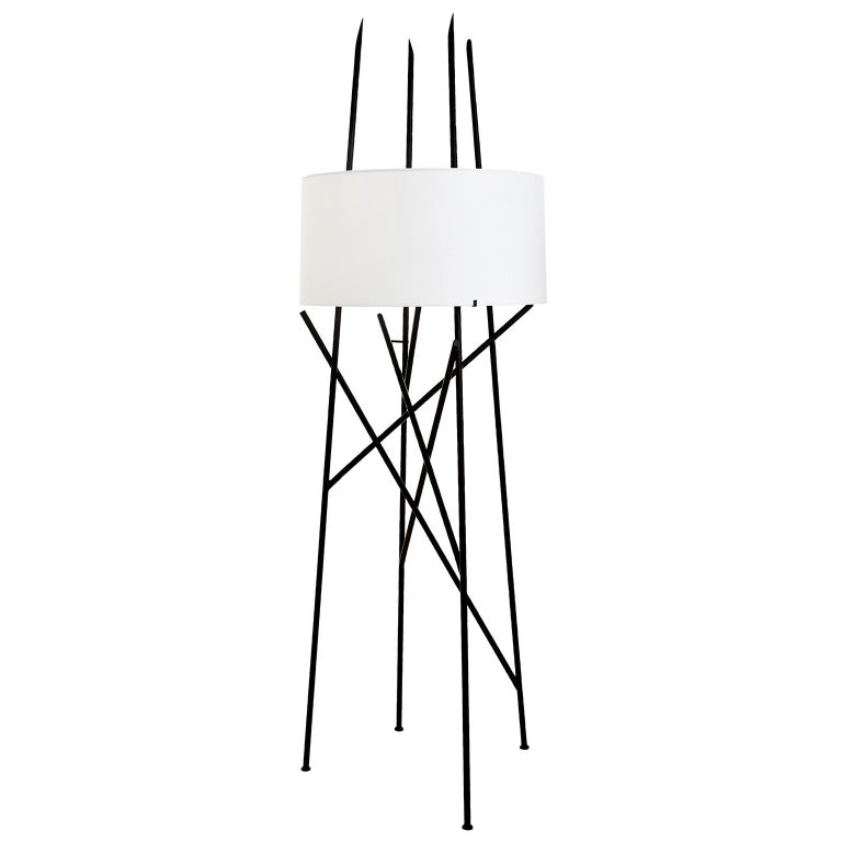Beacon Floor Lamp with Linen Shade and Satin Black Frame
