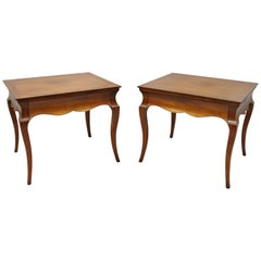 Beacon Hill Italian Regency Burl Wood Saber Leg One Drawer End Tables, a Pair