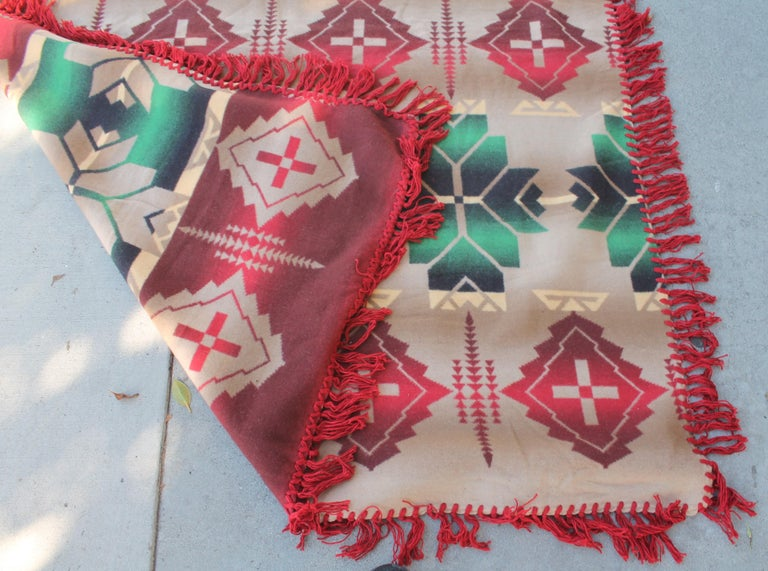 Machine-Made Beacon Indian Design Camp Blanket For Sale