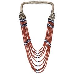 Bead and Seashell Necklace from Indonesia, on Stand