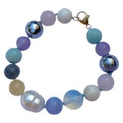 Bead Bracelet Multi Color Multi Gem White Pearl J Dauphin