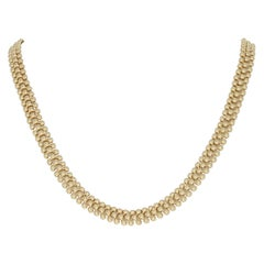 Bead Link Necklace, 14 Karat Yellow Gold Italy