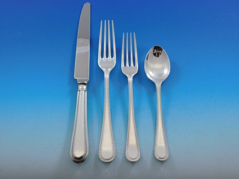 Bead Round by Carrs Sterling Silver Flatware Set Dinner for 12 Service 67 Pieces For Sale 1
