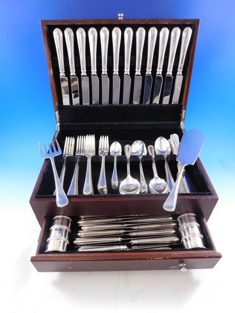 Outstanding bead - round by Carrs - Sheffield England sterling silver flatware set- 87 pieces. This set includes:   12 dinner knives, 9 3/4