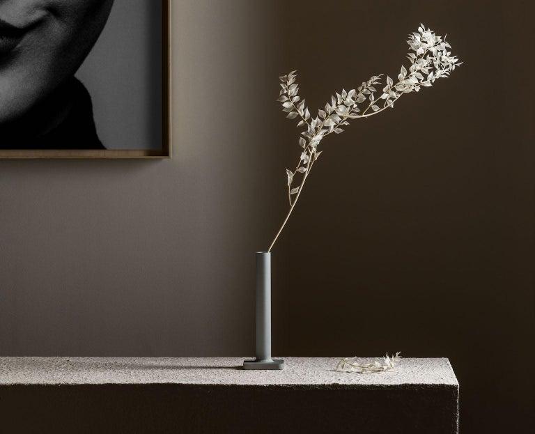 Canadian Bead Vase 17H Soft Gold For Sale