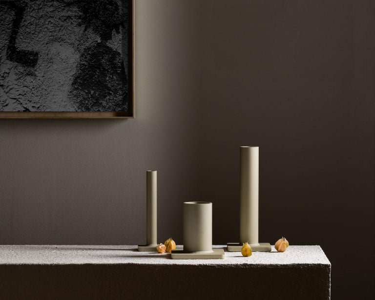 Welded Bead Vase 17H Soft Gold For Sale