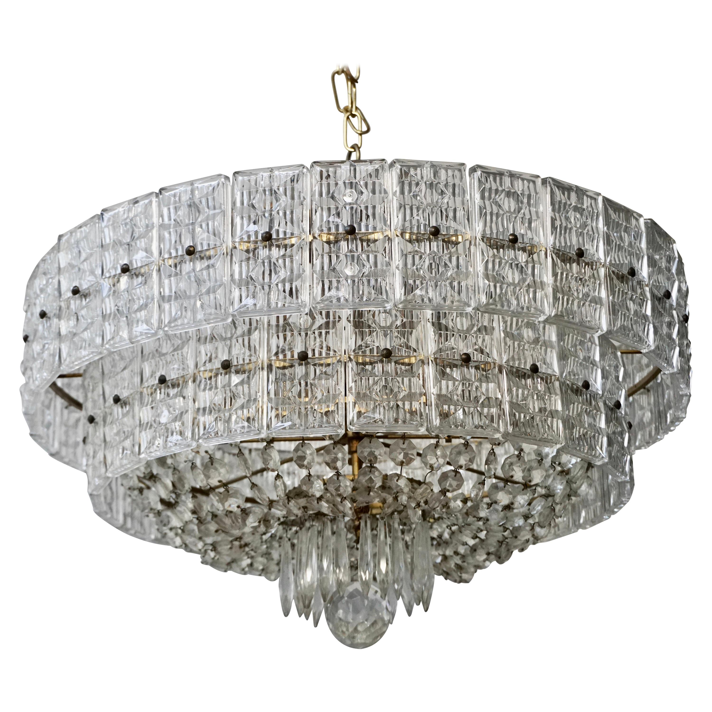 Beaded Amethyst Crystal and Murano Glass Flush Mount