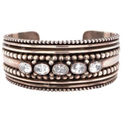 Beaded and CZ Crystal Sterling Silver Cuff Bangle Bracelet Estate Fine Jewelry