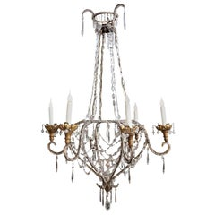 Beaded and Gilt Iron Chandelier