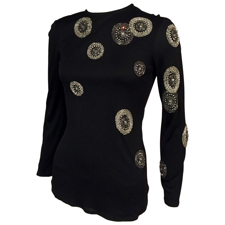 Beaded Black Jersey Top Asymmetrical Design of Rhinestones and Bugle Beads  1