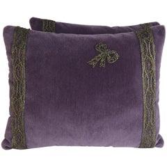 Beaded Bow Appliquéd Purple Velvet Pillows, Pair