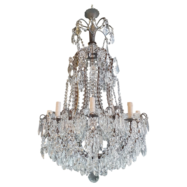 Beaded Brass Crystal Chandelier Antique Ceiling Lamp Lustre Art Nouveau Lamp