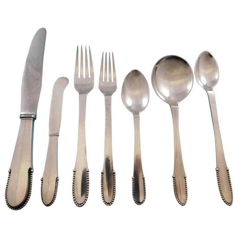 Beaded by Georg Jensen Sterling Silver Flatware Set for 8 Service 56 Pcs Dinner For Sale