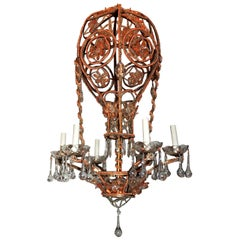 Beaded Coral Crystal Hot Air Basket Balloon Chandeliers Baguès 3 Three Fixtures