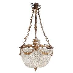 Beaded Crystal Basket Chandelier Antique Ceiling Lamp Lustre Art Nouveau