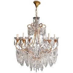 Beaded Crystal Chandelier Antique Ceiling Lamp Lustre Art Nouveau Wood