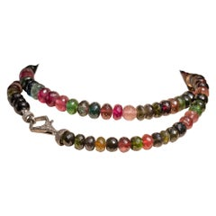 Beaded Faceted Tourmaline and Diamond Necklace