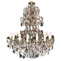 Beaded Florentine Chandelier Antique Ceiling Lamp Lustre Art Nouveau