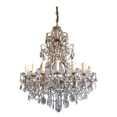 Beaded Florentine Crystal Chandelier Antique Ceiling Lamp Lustre Art Nouveau