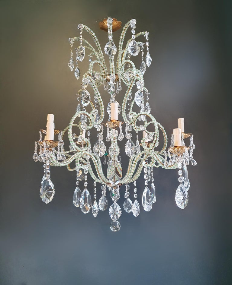Beaded green crystal chandelier antique ceiling lamp Lustre Art Nouveau brass  Measures: Total height 100 cm, height without chain 90 cm diameter 80 cm. Weight (approximately) 15 kg.  Number of lights: 10-light bulb sockets: E14 Material: