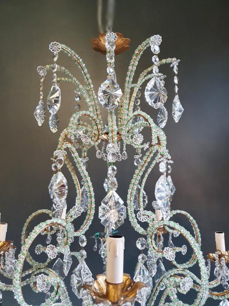 European Beaded Green Crystal Chandelier Antique Ceiling Lamp Lustre Art Nouveau Brass For Sale