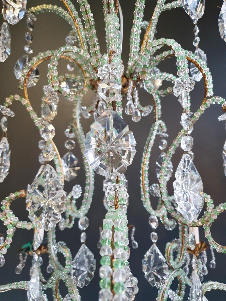 Hand-Knotted Beaded Green Crystal Chandelier Antique Ceiling Lamp Lustre Art Nouveau Brass For Sale
