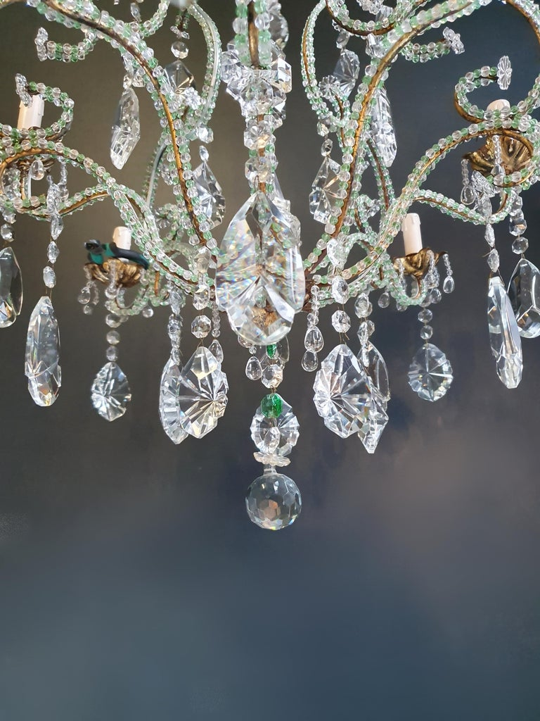Beaded Green Crystal Chandelier Antique Ceiling Lamp Lustre Art Nouveau Brass In Good Condition For Sale In Berlin, DE