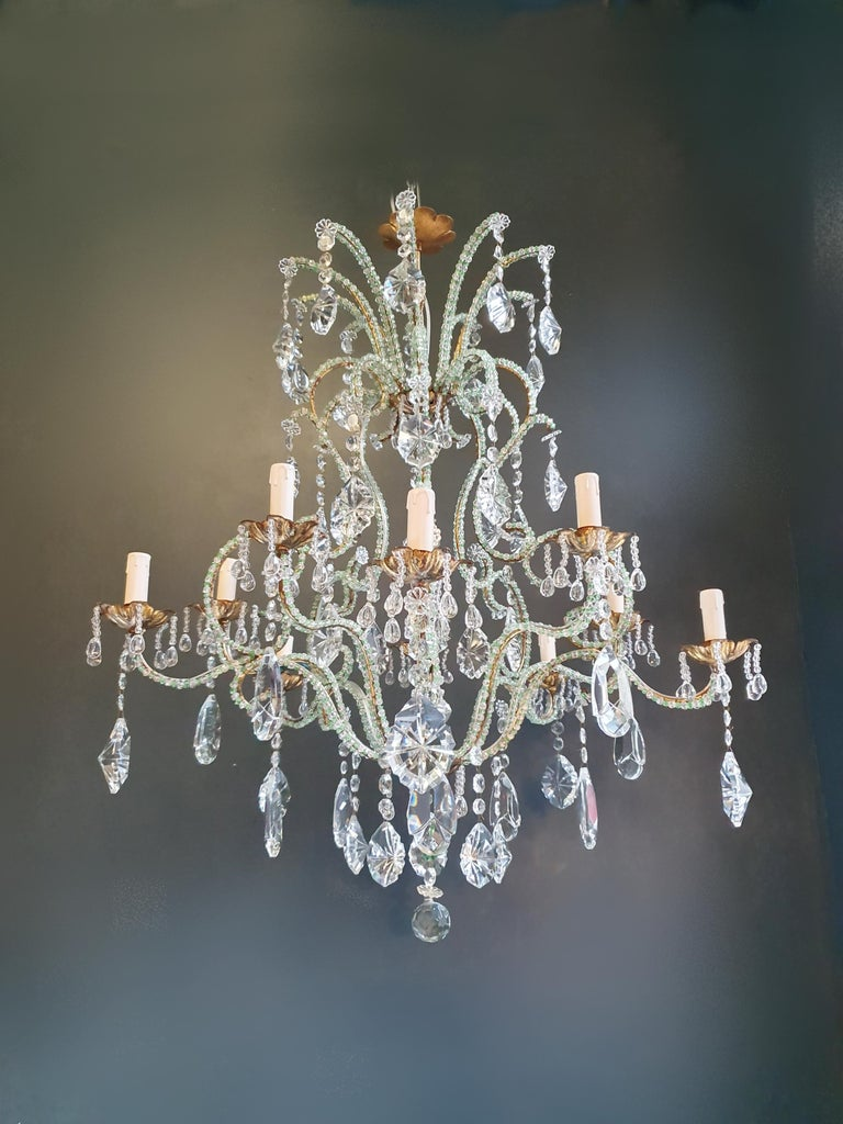 Mid-20th Century Beaded Green Crystal Chandelier Antique Ceiling Lamp Lustre Art Nouveau Brass For Sale